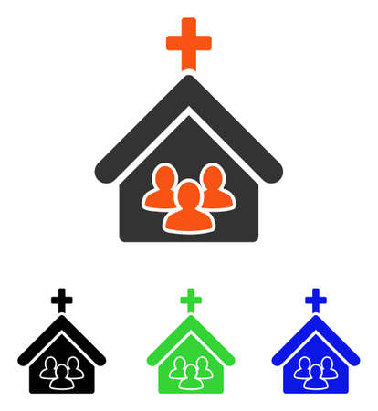 Church People vector icon. Illustration style is a flat iconic colored symbol with different color versions.