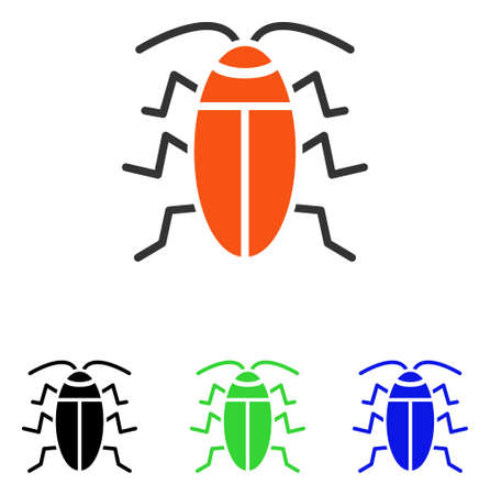 Cockroach vector pictograph. Illustration style is a flat iconic colored symbol with different color versions.