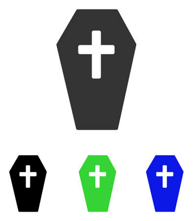Coffin vector icon. Illustration style is a flat iconic colored symbol with different color versions.