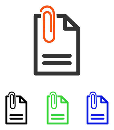 fastener: Attach Document vector pictograph. Illustration style is a flat iconic colored symbol with different color versions.