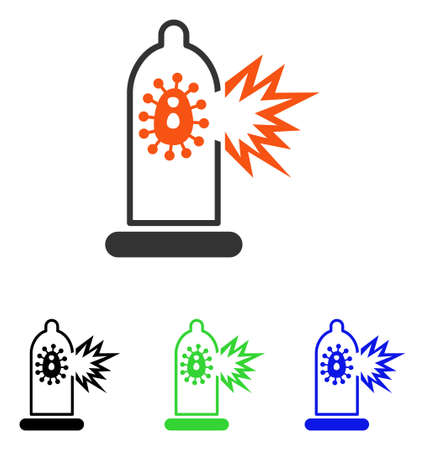 Condom Infection Damage vector icon. Illustration style is a flat iconic colored symbol with different color versions. Illustration