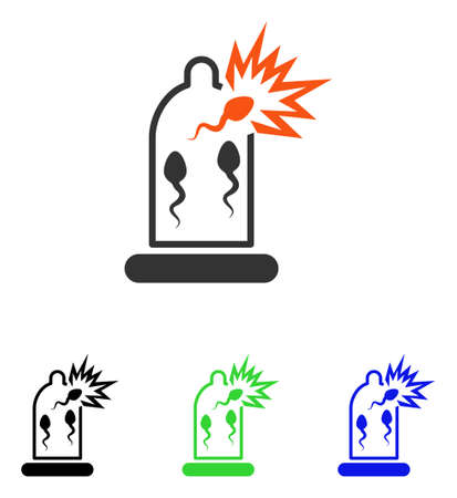 spermatozoon: Condom Sperm Damage vector pictograph. Illustration style is a flat iconic colored symbol with different color versions. Illustration