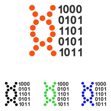 DNA Code vector pictograph. Illustration style is a flat iconic colored symbol with different color versions.
