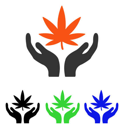 Cannabis Care vector pictograph. Illustration style is a flat iconic colored symbol with different color versions.