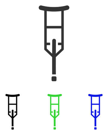 physical impairment: Crutch vector pictograph. Illustration style is a flat iconic colored symbol with different color versions.