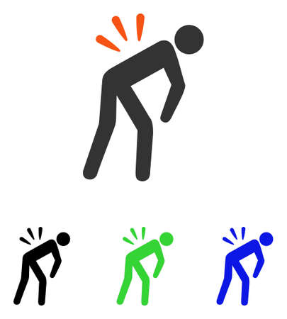 Backache vector icon. Illustration style is a flat iconic colored symbol with different color versions. Vektorové ilustrace