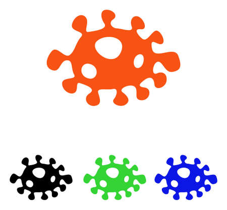Bacteria vector icon. Illustration style is a flat iconic colored symbol with different color versions. Illustration