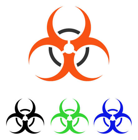 Bio Hazard vector pictogram. Illustration style is a flat iconic colored symbol with different color versions. Illustration