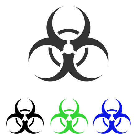 Biohazard Symbol vector pictogram. Illustration style is a flat iconic colored symbol with different color versions. Illustration