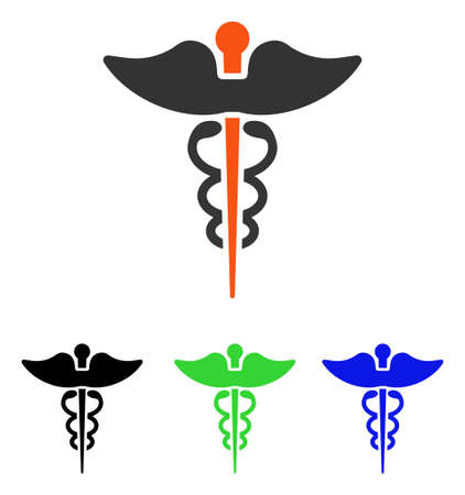 Caduceus vector pictogram. Illustration style is a flat iconic colored symbol with different color versions.