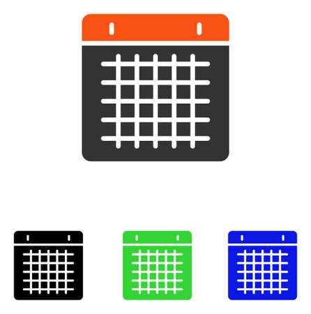 Calendar vector pictogram. Illustration style is a flat iconic colored symbol with different color versions.