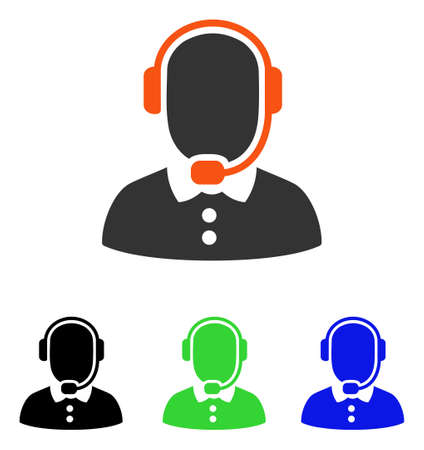 Call Center Operator vector icon. Illustration style is a flat iconic colored symbol with different color versions. Illustration