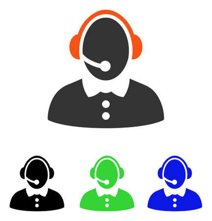 Call Center Woman vector pictogram. Illustration style is a flat iconic colored symbol with different color versions.