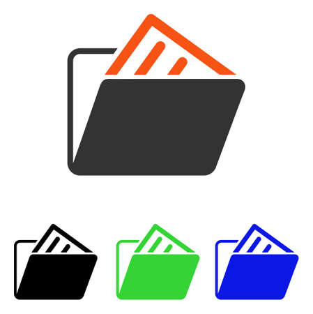 Document Folder vector pictograph. Illustration style is a flat iconic colored symbol with different color versions.