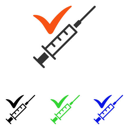 Done Vaccination vector icon. Illustration style is a flat iconic colored symbol with different color versions.