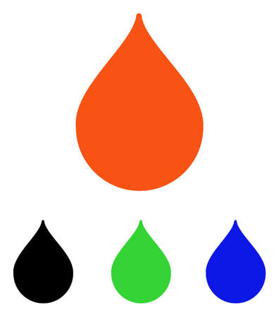 Drop vector pictograph. Illustration style is a flat iconic colored symbol with different color versions.