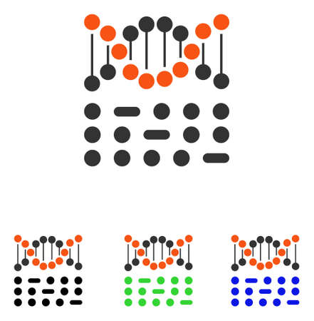 Genetic Code vector icon. Illustration style is a flat iconic colored symbol with different color versions.