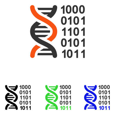 Genetical Code vector pictograph. Illustration style is a flat iconic colored symbol with different color versions. Illustration