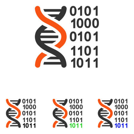 to encode: Genome Code vector pictogram. Illustration style is a flat iconic colored symbol with different color versions.