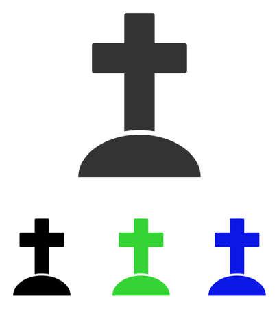 무덤 벡터 그림입니다. 일러스트레이션 스타일은 다른 컬러 버전으로 플랫 아이코닉 컬러 심볼입니다.