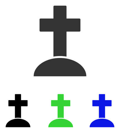 Grave vector pictograph. Illustration style is a flat iconic colored symbol with different color versions. Illustration
