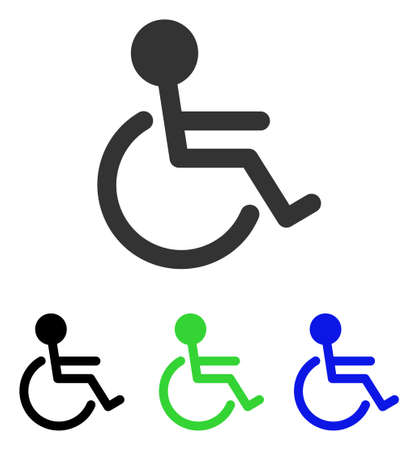 Handicapped vector icon. Illustration style is a flat iconic colored symbol with different color versions.