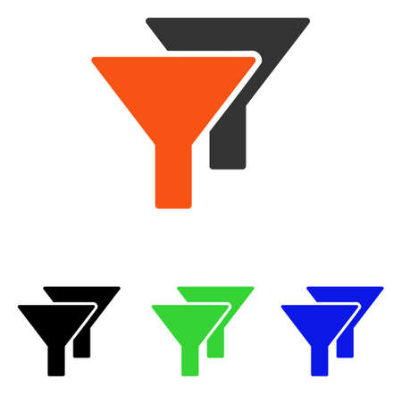 Filters vector pictograph with different color versions.