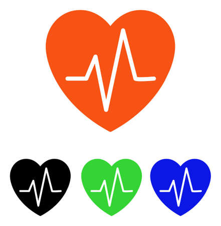 Heart EKG vector pictogram. Illustration style is a flat iconic colored symbol with different color versions. Illustration