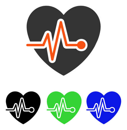Heart Pulse vector pictogram. Illustration style is a flat iconic colored symbol with different color versions. Illustration