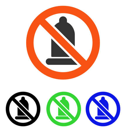Forbidden Condom vector pictogram. Illustration style is a flat iconic colored symbol with different color versions.