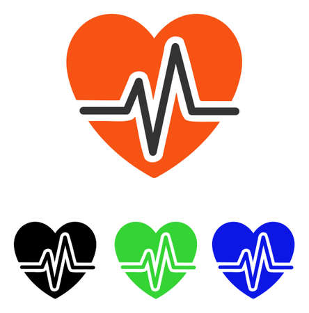Heart Diagram vector icon. Illustration style is a flat iconic colored symbol with different color versions. Illustration