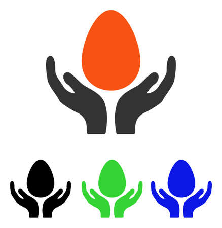 Incubator Egg Care Hands vector pictogram. Illustration style is a flat iconic colored symbol with different color versions.