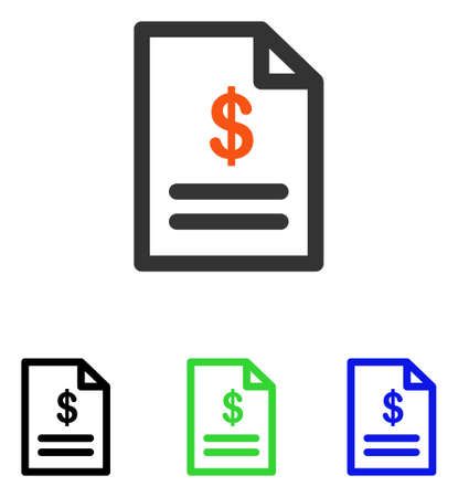 convention: Invoice vector pictograph with different color versions.