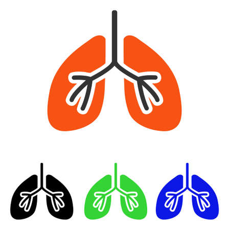 Lungs vector icon. Illustration style is a flat iconic colored symbol with different color versions.