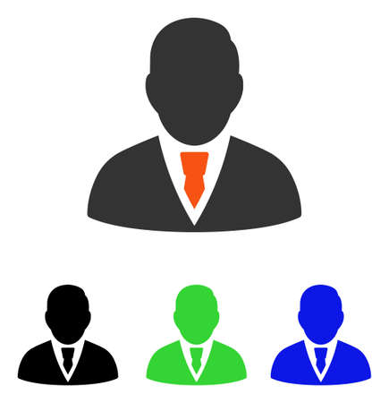 Manager vector icon. Illustration style is a flat iconic colored symbol with different color versions. Illustration