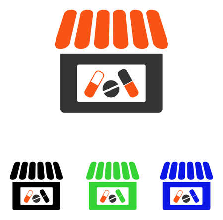 warehouse building: Drugstore vector pictogram. Illustration style is a flat iconic colored symbol with different color versions.