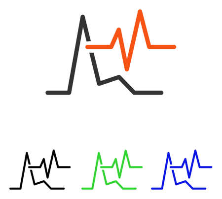 ECG vector pictograph. Illustration style is a flat iconic colored symbol with different color versions.