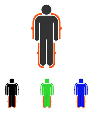 Exoskeleton vector pictograph. Illustration style is a flat iconic colored symbol with different color versions.