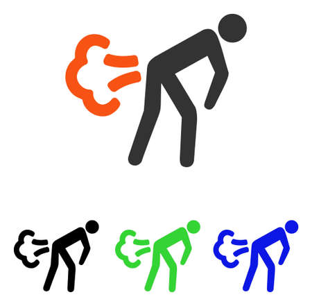 Fart vector pictograph. Illustration style is a flat iconic colored symbol with different color versions.