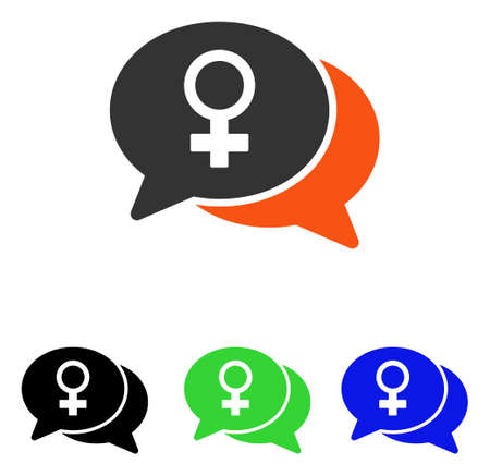 Female Chat vector pictograph. Illustration style is a flat iconic colored symbol with different color versions. Vectores