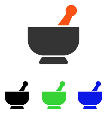 Mortar vector icon. Illustration style is a flat iconic colored symbol with different color versions.