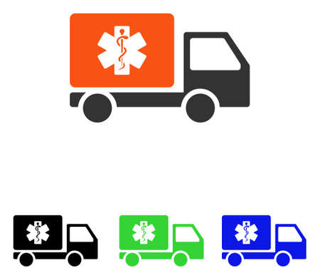 Medical Shipment vector pictogram. Illustration style is a flat iconic colored symbol with different color versions.