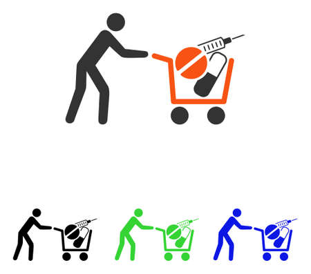 Medical Shopping vector pictograph. Illustration style is a flat iconic colored symbol with different color versions. Illustration