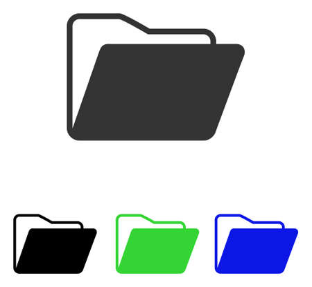 directory: Open Folder vector pictograph. Illustration style is a flat iconic colored symbol with different color versions.