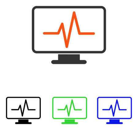 heart monitor: Pulse Monitoring vector pictogram. Illustration style is a flat iconic colored symbol with different color versions. Illustration