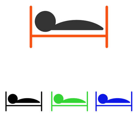 Patient Bed vector pictogram. Illustration style is a flat iconic colored symbol with different color versions.