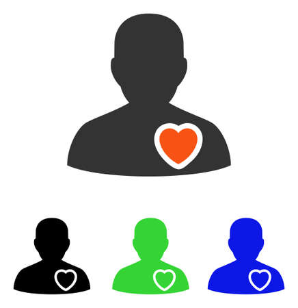 Patient Heart vector pictograph. Illustration style is a flat iconic colored symbol with different color versions.