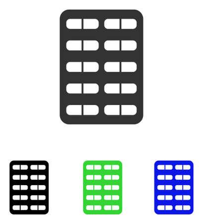 Pil Blister vector pictogram. Illustratiestijl is een plat iconisch gekleurd symbool met verschillende kleurenversies.