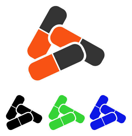 Pillen vector pictogram. Illustratiestijl is een plat iconisch gekleurd symbool met verschillende kleurenversies.