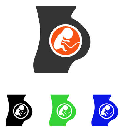 Pregnant Woman vector pictogram. Illustration style is a flat iconic colored symbol with different color versions.